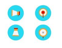 Flat megaphone icon set. Royalty Free Stock Image