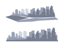 Flat megapolis panorama. Vector background Stock Images