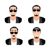 Flat Men with Faces Icons Set. Set of Men Avatars Stock Image