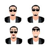 Flat Men with Faces Icons Set. Set of Men Avatars Stock Image