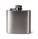Flat metal flask Stock Images