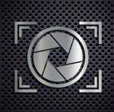 Flat metallic logo camera. Royalty Free Stock Images