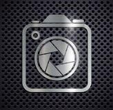 Flat metallic logo camera. Royalty Free Stock Image