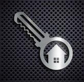 Flat metallic logo key. Door key on a metallic background. Stock Royalty Free Stock Photos