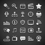 Flat metallic universal icons. Set, vector illustration Royalty Free Stock Image