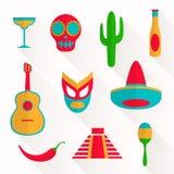 Flat Mexico Icons Royalty Free Stock Photos