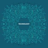 Flat Microelectronics Circuits technology with blue background. Flat Microelectronics Circuits. Circuit board vector, with elegant blue background