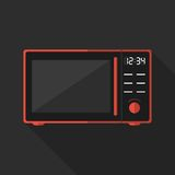 Flat microwave with long shadow. Vector icon Royalty Free Stock Photos