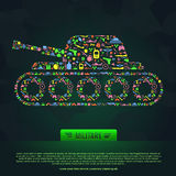 Flat military army and weapon infographic template icon banner Royalty Free Stock Image