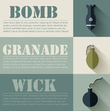 Flat military explosive weapons set design concept Royalty Free Stock Photography