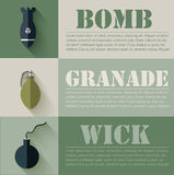 Flat military explosive weapons set design concept Stock Images