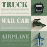Flat military soldier equipment set design concept. Vector illustration infographic Stock Photography