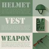 Flat military soldier equipment set design concept. Vector illustration infographic Royalty Free Stock Photo