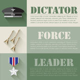 Flat military soldier equipment set design concept. Vector illustration infographic Royalty Free Stock Photos
