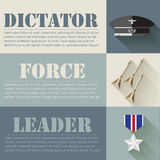 Flat military soldier equipment set design concept. Vector illustration infographic Royalty Free Stock Images