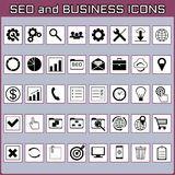 Flat minimal black and white icon set. SEO and business. royalty free stock photo