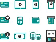 Flat minimalist Money Finance Icon. 12 Money Finance Icon in minimalist, flat and simple style for web,application and button usage Stock Photography