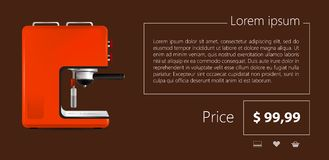 Flat minimalist template business design. Red coffee machine. Stock Images