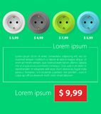 Flat minimalist template business design. Sockets. Stock Photo