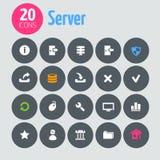 Flat minimalistic server icons on dark gray Stock Photos