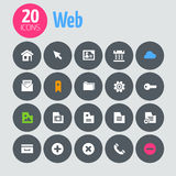 Flat minimalistic web icons on dark gray circles Stock Photos
