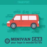 Flat minivan car background illustration concept. Tamplate for web and mobile design Royalty Free Stock Photography