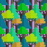 Flat mixed forest seamless vector pattern Royalty Free Stock Photography