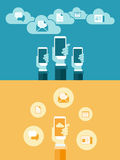 Flat mobile communication on hand. Technology Internet  Connecting background concept Royalty Free Stock Image