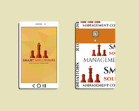 Flat Mobile device and smart phone. Chess Smart Stock Photo