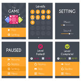 Flat Mobile Game Screens Set Stock Images