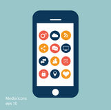 Flat mobile phone vector with social media icons Stock Photography