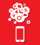Flat mobile phone vector with social media icons red vector eps 10 Royalty Free Stock Photography