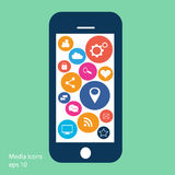 Flat mobile phone vector with social media icons Royalty Free Stock Photos