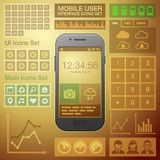 Flat Mobile UI User Interface Design Elements Kit Royalty Free Stock Photos