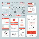 Flat Mobile Web UI Kit Royalty Free Stock Photos