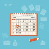 April page 2019 spiral calendar with marked tax day. Flat modern business concept of tax day, payments time, tax time with marked number 15 of the April page of vector illustration