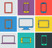 Flat modern colored electronic gadgets Stock Images