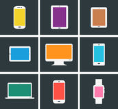 Flat modern colored electronic gadgets Royalty Free Stock Photography