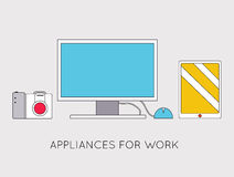Flat modern creative workspace with computer Royalty Free Stock Photography