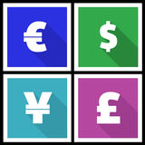 Flat modern currency icons Royalty Free Stock Images