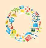 Flat Modern Design Collection Icons of Travel on Holiday Journey Stock Image