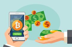 Flat modern design concept of cryptocurrency technology, bitcoin exchange, mobile banking. Hand holding smartphone with bitcoin an. D dollars coming out vector illustration
