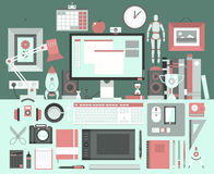 Flat modern design  illustration concept of creative office workspace. Stock Images