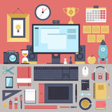 Flat modern design  illustration concept of creative office workspace. Royalty Free Stock Image