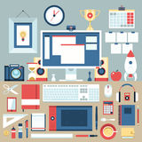 Flat modern design  illustration concept of creative office workspace.. Royalty Free Stock Photography