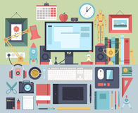 Flat modern design  illustration concept of creative office workspace.. Stock Photography