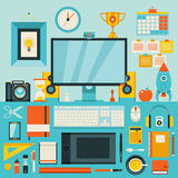Flat modern design  illustration concept of creative office workspace. Royalty Free Stock Photos