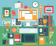 Flat modern design  illustration concept of creative office workspace. Stock Image