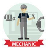Flat modern design of Male mechanic cartoon character holding a wrench Stock Photos