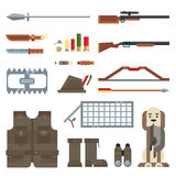 Flat modern design vector icons set of hunting tools and equipment Stock Image